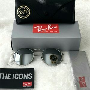 ROUND SILVER RAY-BAN AVIATOR 100% AUTHENTIC